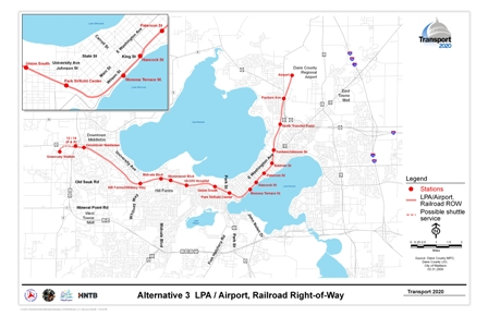 Alternative 3 LPA/Airport, Railroad Right-of-Way includes a rail alignment along railroad corridors with stations at the Airport, North Transfer Point, Fordem Street, Baldwin St, Paterson St, Hancock St, Monona Terrace, Park St/Kohl Center, Union South, UW Medical Center, Shorewood Hills, Midvale Boulevard, HillFarms/Whitney Way, Downtown Middleton, Highways 12 and 14 (includes Park and Ride), and Greenway Station.
