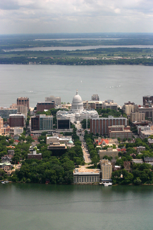 Long range view of the Wisconsin State Capitol Building