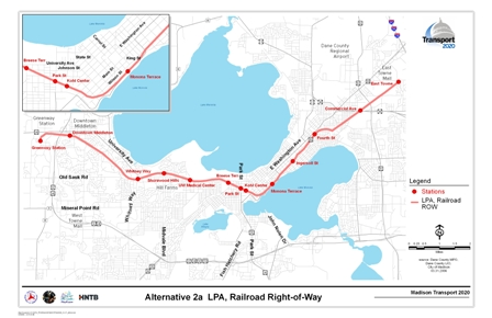 Alternative 2a LPA, Railroad Right-of-Way includes a rail alignment along railroad corridors with stations at East Towne, Commercial Avenue, Fourth Street, Ingersoll Street, Monona Terrace, Kohl Center, Park Street, Breeze Terrace, UW Medical Center, Shorewood Hills, Whitney Way, Downtown Middleton, and Greenway Station.