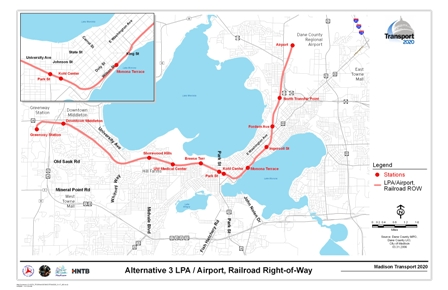 Alternative 3 LPA/Airport, Railroad Right-of-Way includes a rail alignment along railroad corridors with stations at the Airport, North Transfer Point, Fordam Avenue, Ingersoll Street, Monona Terrace, Kohl Center, Park Street, Breeze Terrace, UW Medical Center, Shorewood Hills, Whitney Way, Downtown Middleton, and Greenway Station.