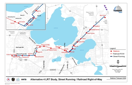 This map shows Alternative 4 LRT Study, Street Running/Railroad Right-of-Way. The route includes a street running segment from East Towne Mall to and through the Isthmus along US Highway 151 and East Washington Avenue, then continuing on railroad right-of-way to the Kohl Center, Park Street, Breeze Terrace, UW Medical Center, Shorewood Hills, Hill Farms, and then street running along Whitney Way to Mineral Point Road to the Beltline.